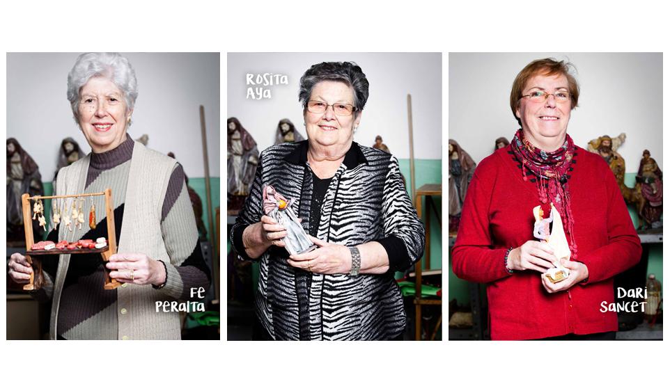 Fotogafia d'algunes de les creadores del Pessebre de la pl. de la Vila, 2017