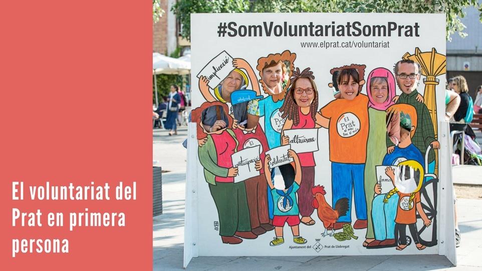 """Imatge gràfica de la campanya """"El voluntariat del Prat en primera persona"""""""
