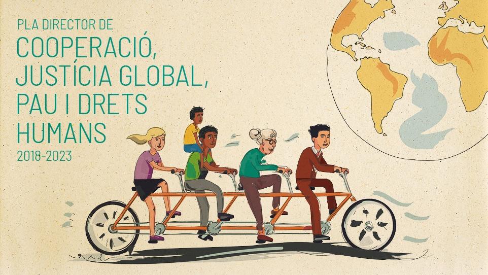 Imatge gràfica del Pla director de Cooperació, Justícia Global, Pau i Drets Humans, 2018