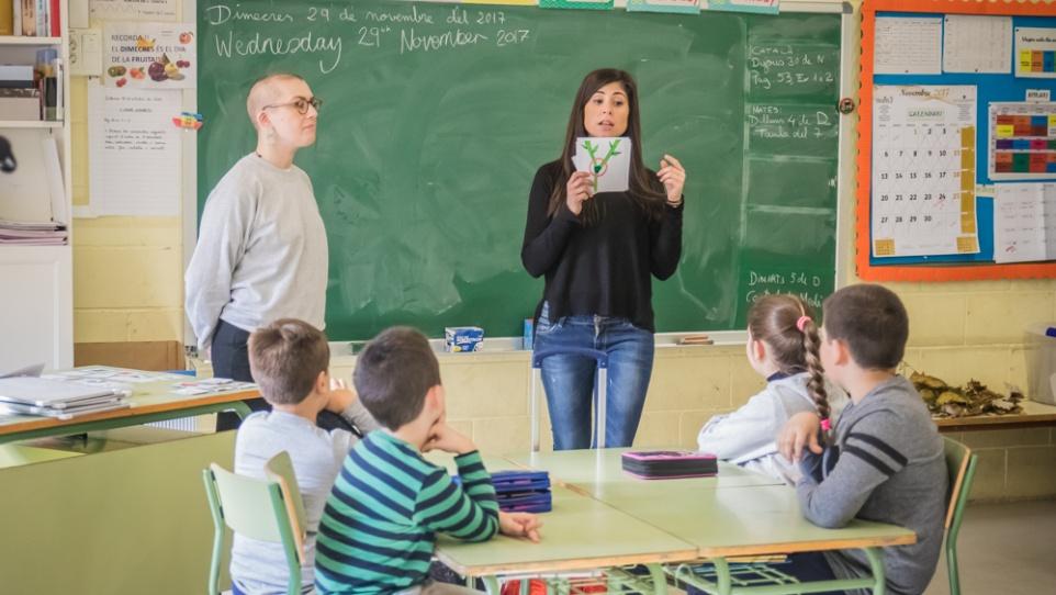 Imatge d'una sessió de conversa d'anglès a l'escola Galileo Galilei, 2017