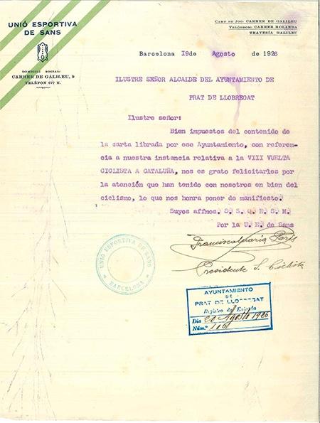 Contribució de l'Ajuntament del Prat al ciclisme