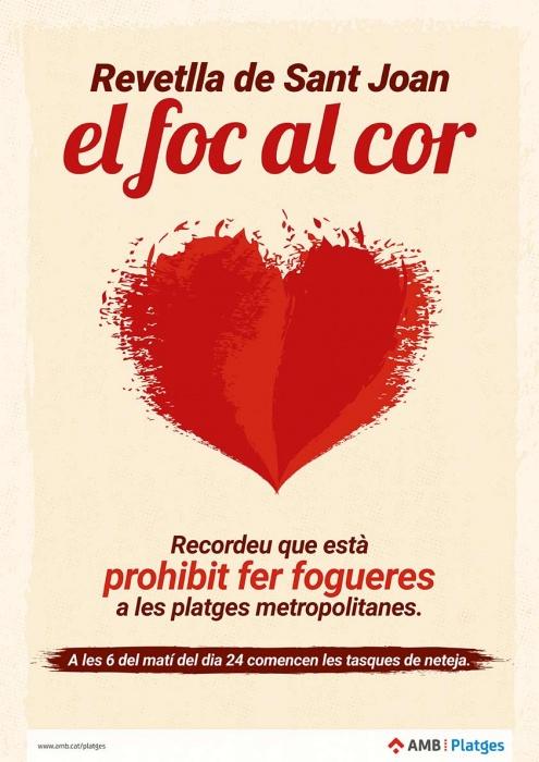 Campanya de l'Àrea Metropolitana de Barcelona (AMB) sobre la prohibició de fer fogueres a les platges.