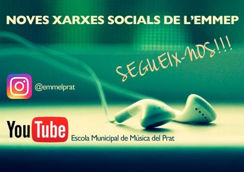 Nous perfils d'Instagram i Youtube de l'Escola Municipal de Música.
