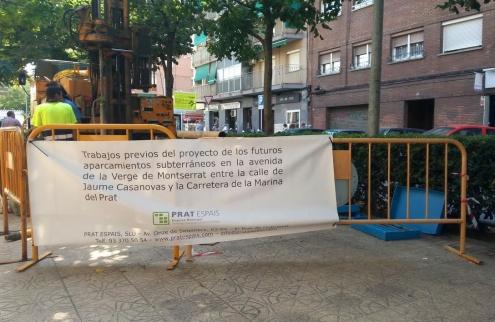Treballs previs a la construcció dels aparcaments subterranis.