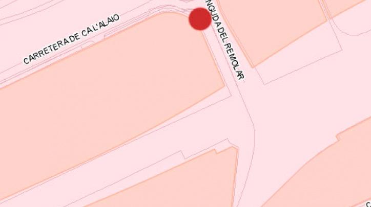 El punt vermell indica l'indret no ha tingut lloc la punxada de la canonada d'aigua.