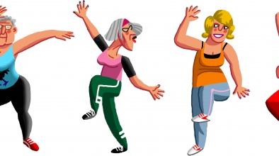 Imatge gràfica d'un grup de dones i un home gran fent excercici
