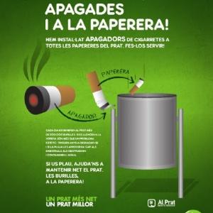 """Imatge gràfica de la campanya """"Burilles apagades i a la paperera"""", 2014"""