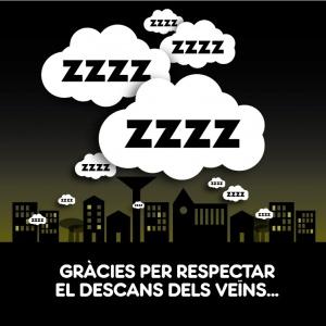 """Imatge de la campanya """"Gràcies per respectar el silenci dels veïns"""", 2014"""