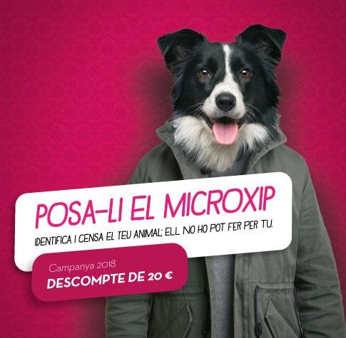 """Imatge gràfica de la campanya """"Posa-li el microxip"""", 2018"""