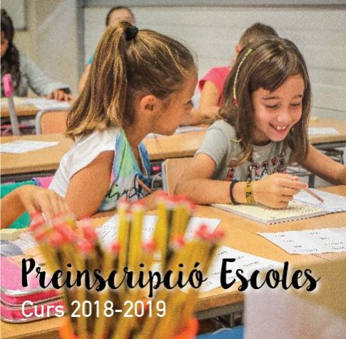 Imatge gràfica de la campanya de preinscripció a les escoles, curs 2018 - 2019